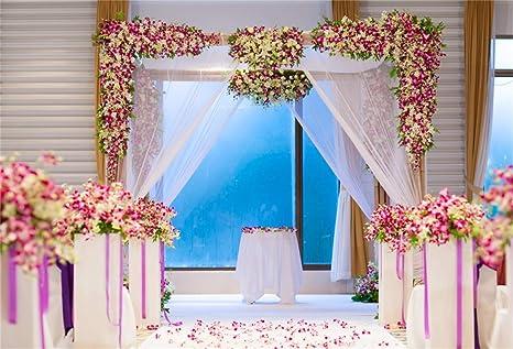 Amazoncom Laeacco Indoor Floral Wedding Ceremony Stage