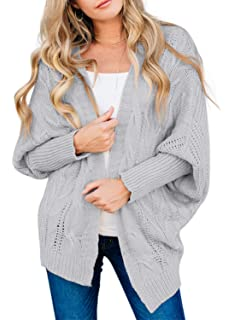 Lynwitkui Womens Plus Size Sweaters Coat Loose Open Front Cable Knitted Cardigan Tunic Long Sleeve Jumper Top Outwear