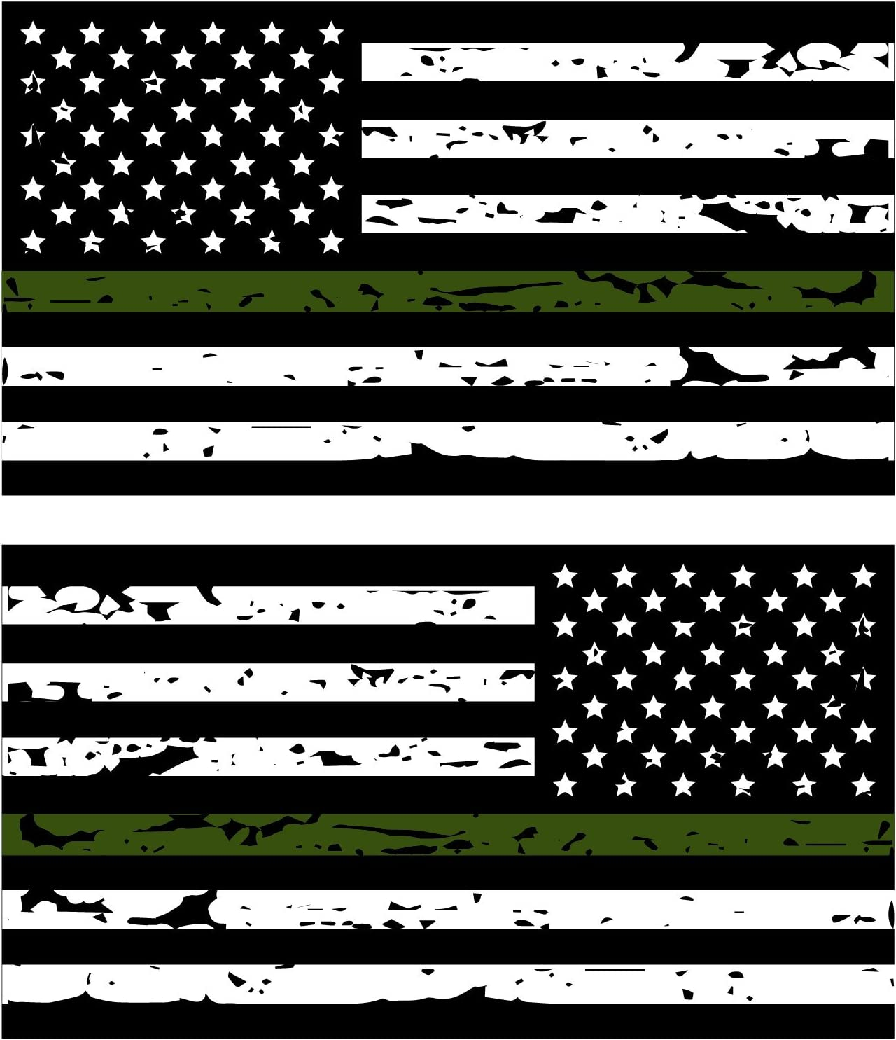 Tattered Olive Drab Military Flag All Gave Some window decal Various Sizes