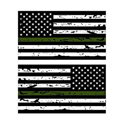 55d51cc452c9 Amazon.com  K9King Thin Green Line Reflective Tattered US Flag Stickers (2)  Standard and Reverse. 3M Outdoor Reflective Military and Federal Decal  ...
