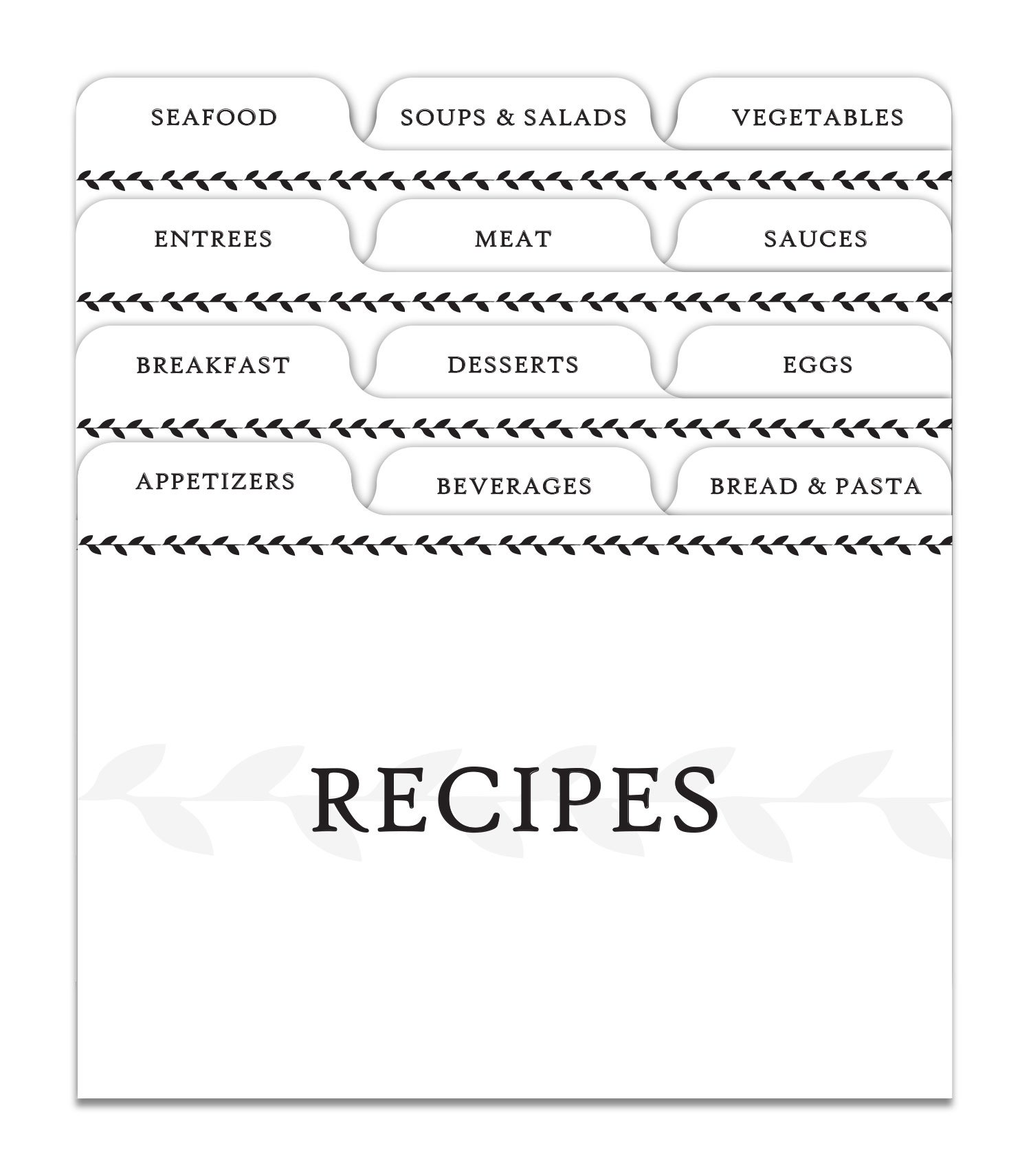 Jot & Mark Recipe Card Dividers | 24 Tabs per Set, Works With 4x6 Inch Cards, Helps Organize Recipe Box (Classic)