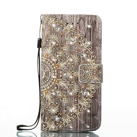 6ae323e8229 SainCat Funda Compatible con Samsung Galaxy J7 2017 Glitter Rhinestone Soft  PU Cuero Flip Wallet Leather