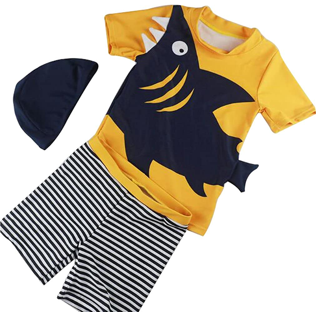 UNIQUEONE Baby Boys Two Pieces Dinosaur Rash Guard Sun Protection Bathing Suit with Hat
