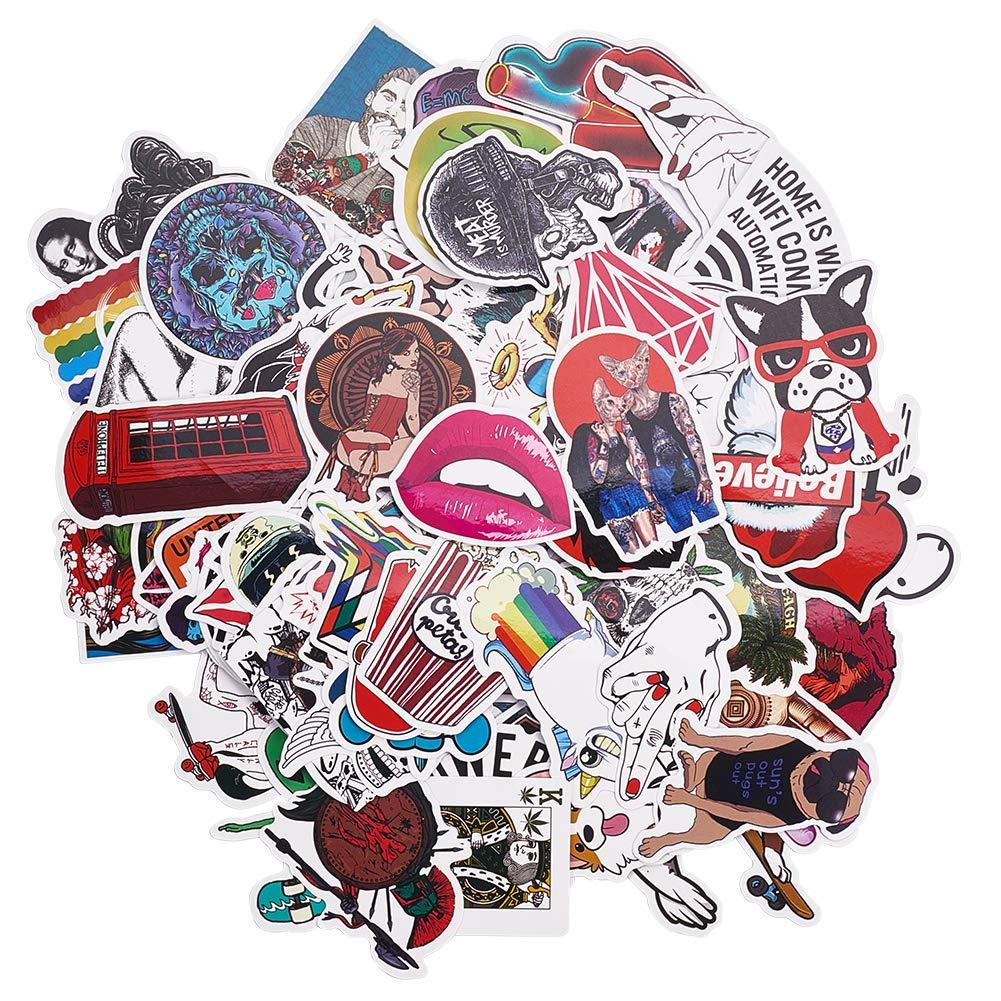 100 Pcs R/étro Vintage Stickers Valise Autocollants pour Valise Voyage Skateboard Guitare Autocollant de Style R/étro Graffiti Autocollants Dr/ôles de Voyage PandaHall Elite