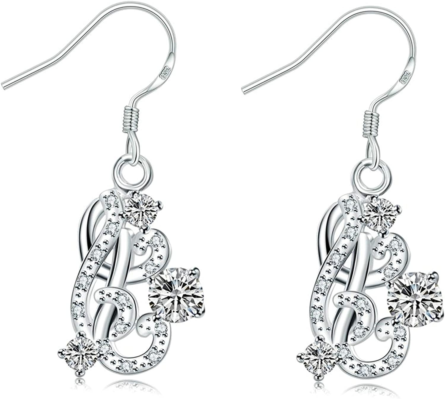 Gnzoe Fashion Jewelry 18K Silver Plated Drop Earrings Fishhook Tree Branch Round Crystal Eco Friendly