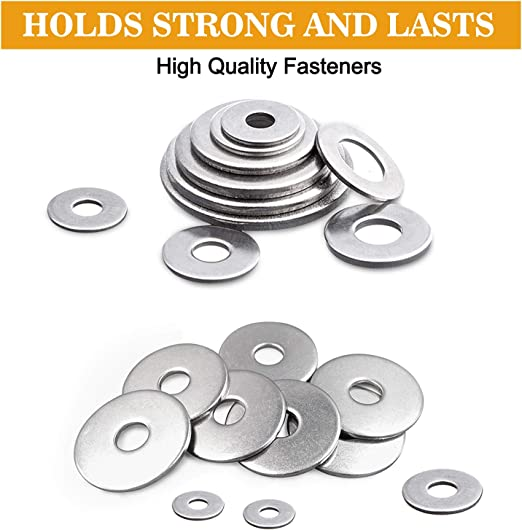 LAANCOO Silver Zinc Plated Alloy Steel Flat Washers Set Washers Hardware Assortment 225 Pieces