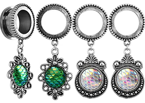 IPINK Fish Scale Dangle Pendant Opal Stainless Steel Screw Ear Plugs Tunnels Gauges 2G to 20mm 2 Pairs