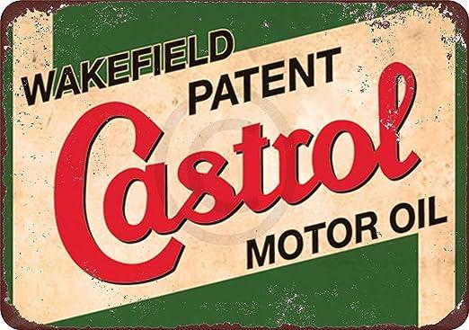 Castrol Wakefield Motor Oil Tin Sign Vintage Style Garage Wall Decor