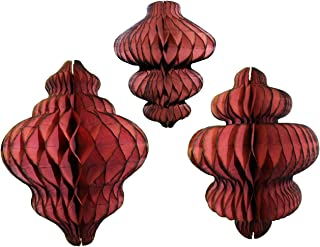 product image for Set of 3 Maroon Honeycomb Tissue Paper Hanging Ornament Decorations (11 inch, 10 inch, 8 inch)