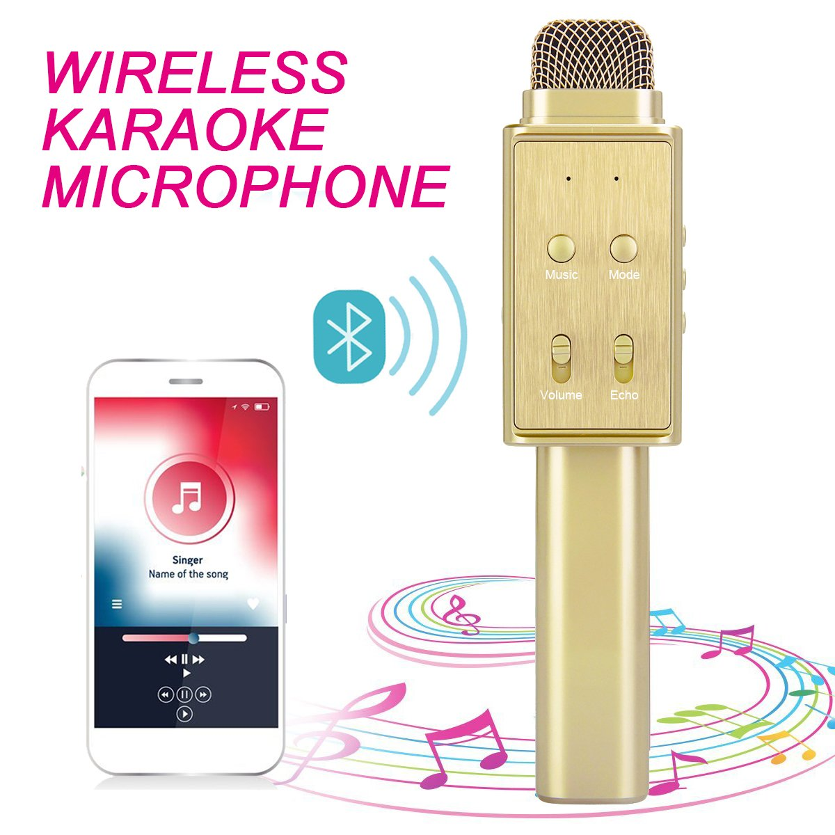 [ 3-in-1 ] Maxesla Wireless Microphone Bluetooth Wireless Karaoke Multi-function Microphone Portable Built-in Bluetooth Speaker Player for iPhone Android Smartphone Laptop and PC etc. (black) K1