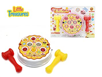 Little Treasures Hamer Tap Birthday Cake 2 Player Game Hammers Pounding Fun For 3
