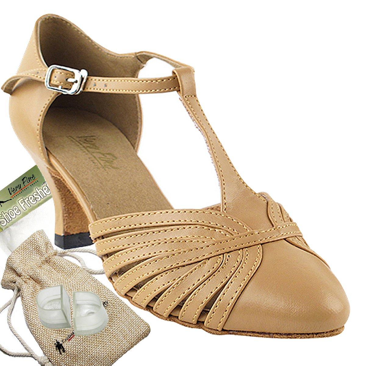 Women's Ballroom Dance Shoes Tango Wedding Salsa Dance Shoes Beige Brown Leather 6829BEB Comfortable - Very Fine 2.5'' Heel 5 M US [Bundle of 5]