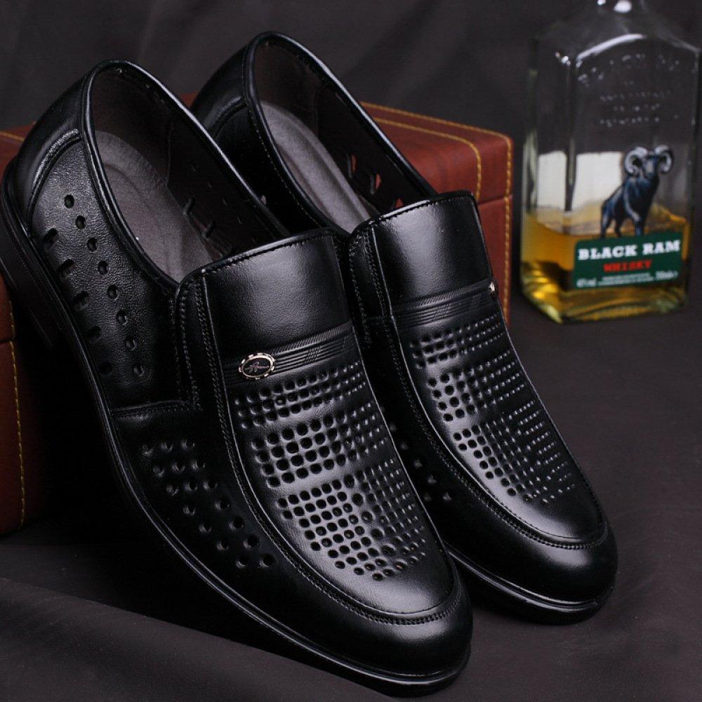 Sommer Herren Casual Leder Breathable Löcher Schuhe Geschäft Casual Herren Loafers Hochzeit Kleid Büro Formelle Schuhe schwarz d3b787