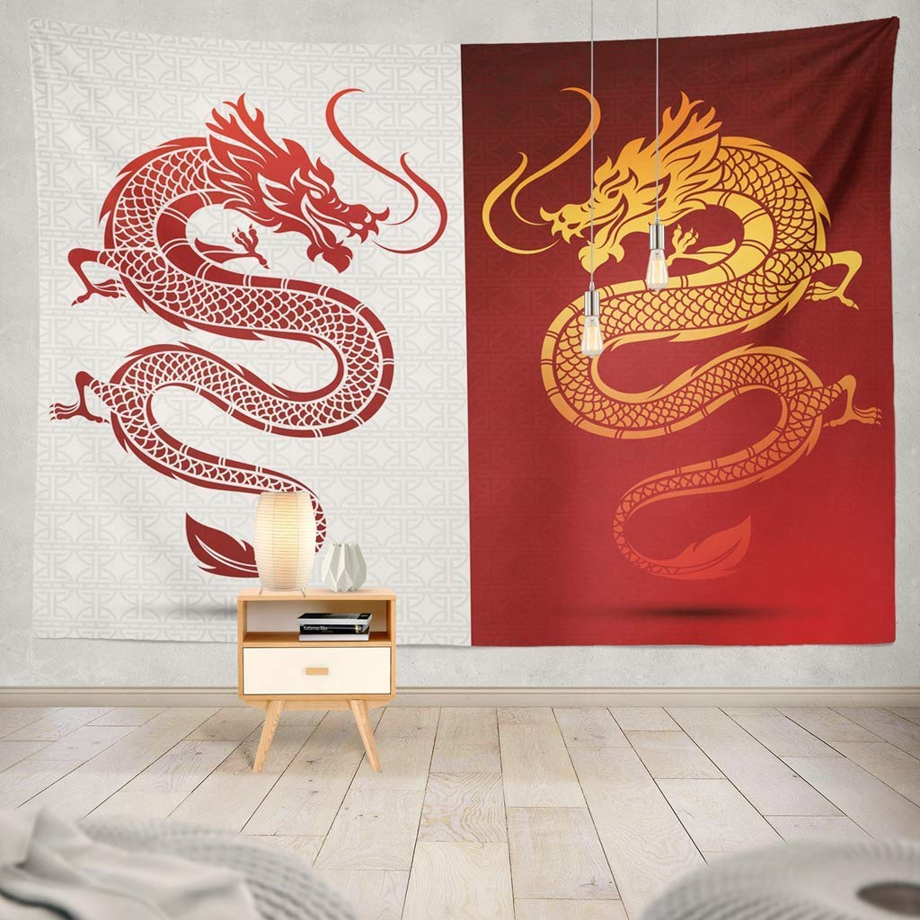 gthytjhv arazzi Asian Traditional Chinese Dragon Ancient Asia Dragon Chinese Asian Silhouette Asia Cloud Line Traditional Decorative Tapestry Wall Hanging Tapestry for Bedroom Living Room