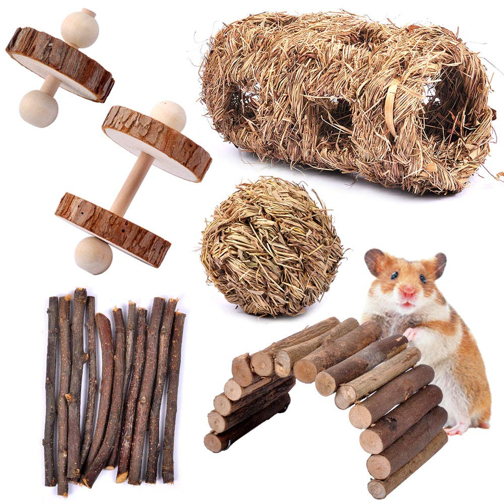 MyfatBOSS Apple Sticks Pet Chew Toys- Pack of 6 Hamster Chew Toys Including Ladder Bridge Unicycle Dumbells Exercise Roller Teeth Care Molar Toy, for Rabbits Rat Guinea Pig Chinchilla and Other Small