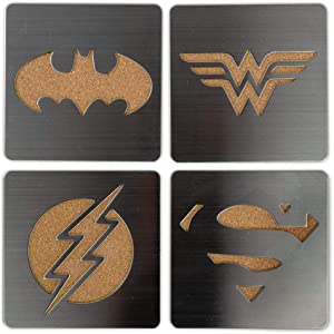 DC Comics Superhero Logo 4-Piece Coaster Set | Batman, Superman, Wonder Woman & The Flash Laser-Cut Justice League Logos - Sturdy, Unique Cork & Ceramic Design - Great Gift Idea