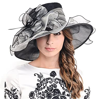 e45de0fe287 Ladies Kentucky Derby Church Hat Wide Brim Leaf Flower Bridal Dress Hat s037