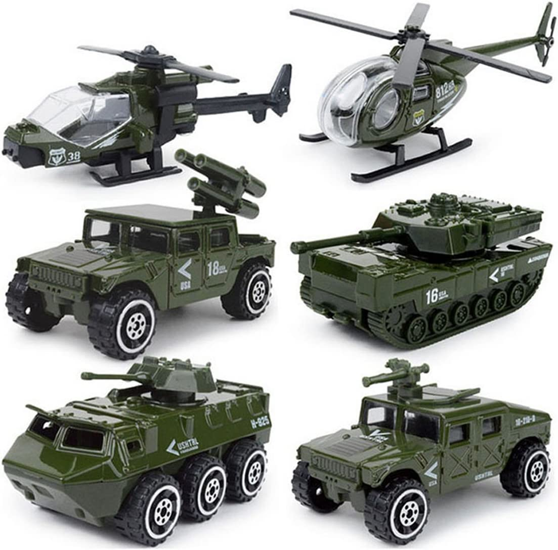 JQGT Diecast Military Vehicles Army Toy 6 in 1 Assorted Metal Model Cars Tank Jeep Attack Helicopter Panzer Playset for Kids Toddlers