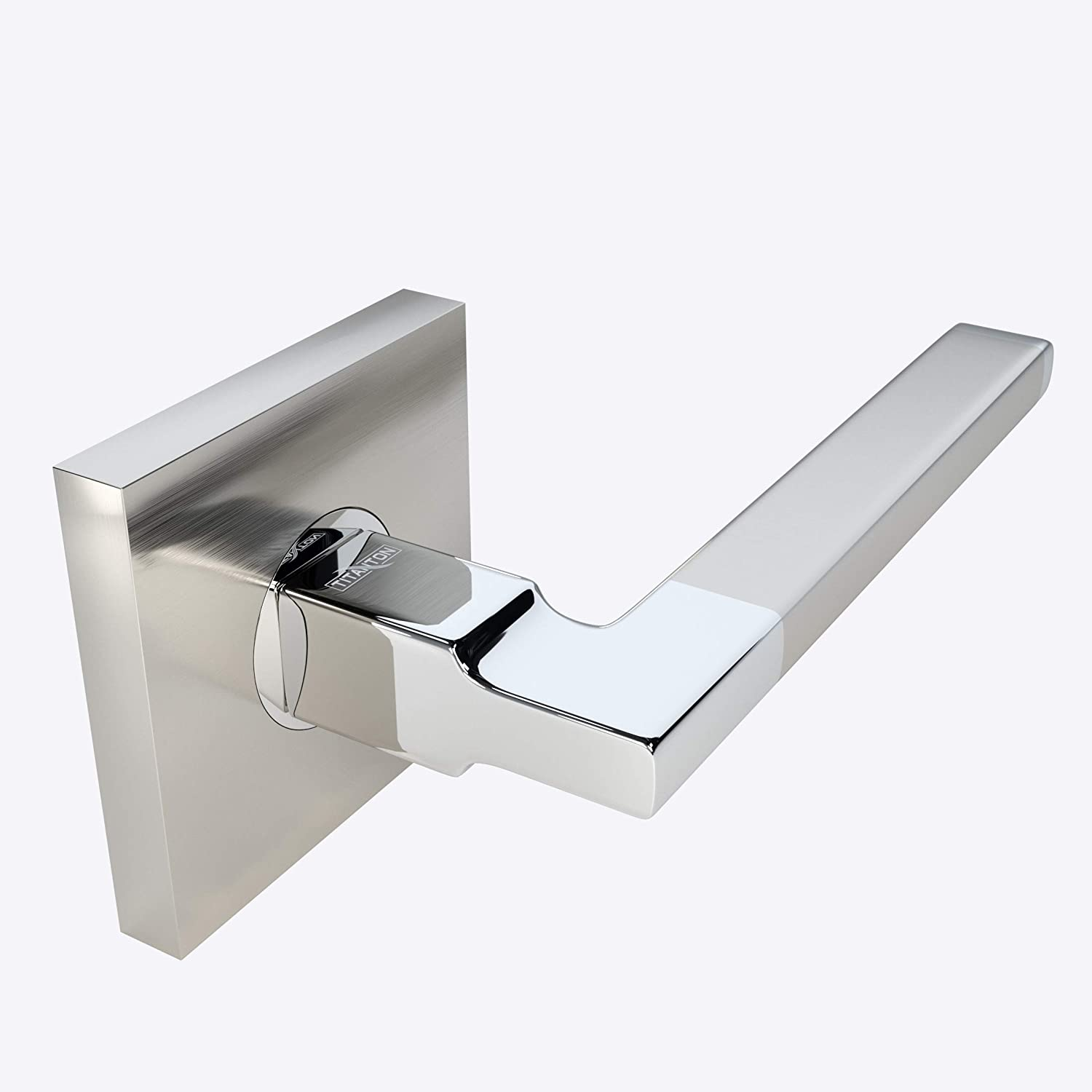 TITANTON 1703 Polished Chrome Finish with Privacy Pin Function Modern Door Handle Door Lever Set in Satin Nickel