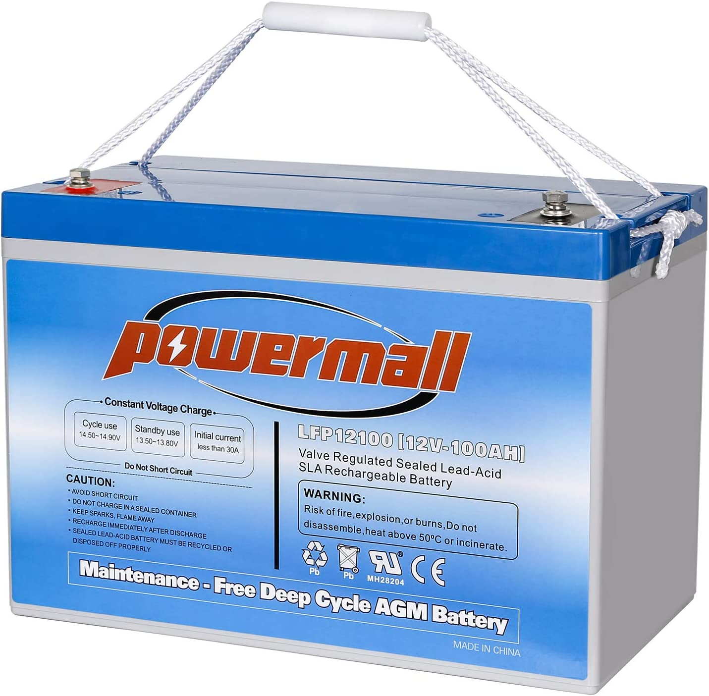 Powermall 12V 100AH Sealed Rechargeable Deep Cycle Battery, Replace UB121000 ML100-12 NPG12-100Ah, for Solar Off Grid Boat Camper Van Cargo Trailer Scooter Wheelchair