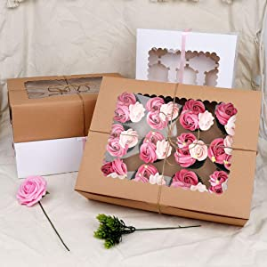 OurWarm 24 Pcs Christmas Cookie Boxes Kraft Christmas Holiday Baking Box with Inserts and Ribbons for Cupcakes, Candy, Holiday Bakery Treat and Party Favor 14 x 10 x4 Inches