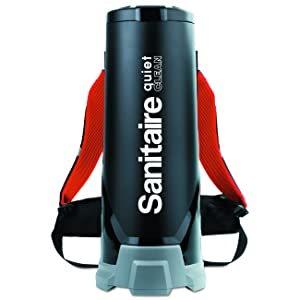 "Sanitaire SC530A Quiet Clean HEPA Backpack Vac, 10qt Tank Capacity, 32-1/4"" Height, 12-1/2"" Width, 14-7/8"" Length, ABS Plastic, Black"