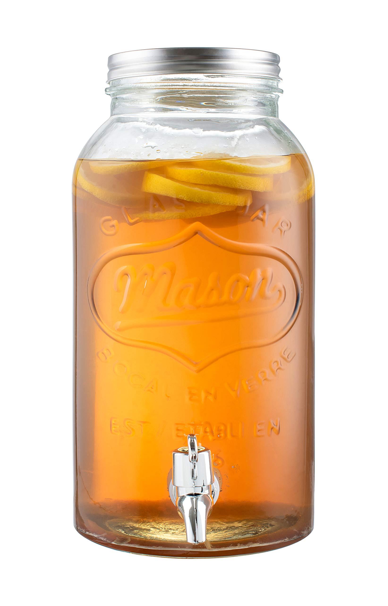 Royalty Art Mason Jar Drink Dispenser with Spigot (1 Gallon) Tea, Juice, and Beverage Server Thick Borosilicate Glass, Screw On Lid Leak Resistant and Dishwasher Safe