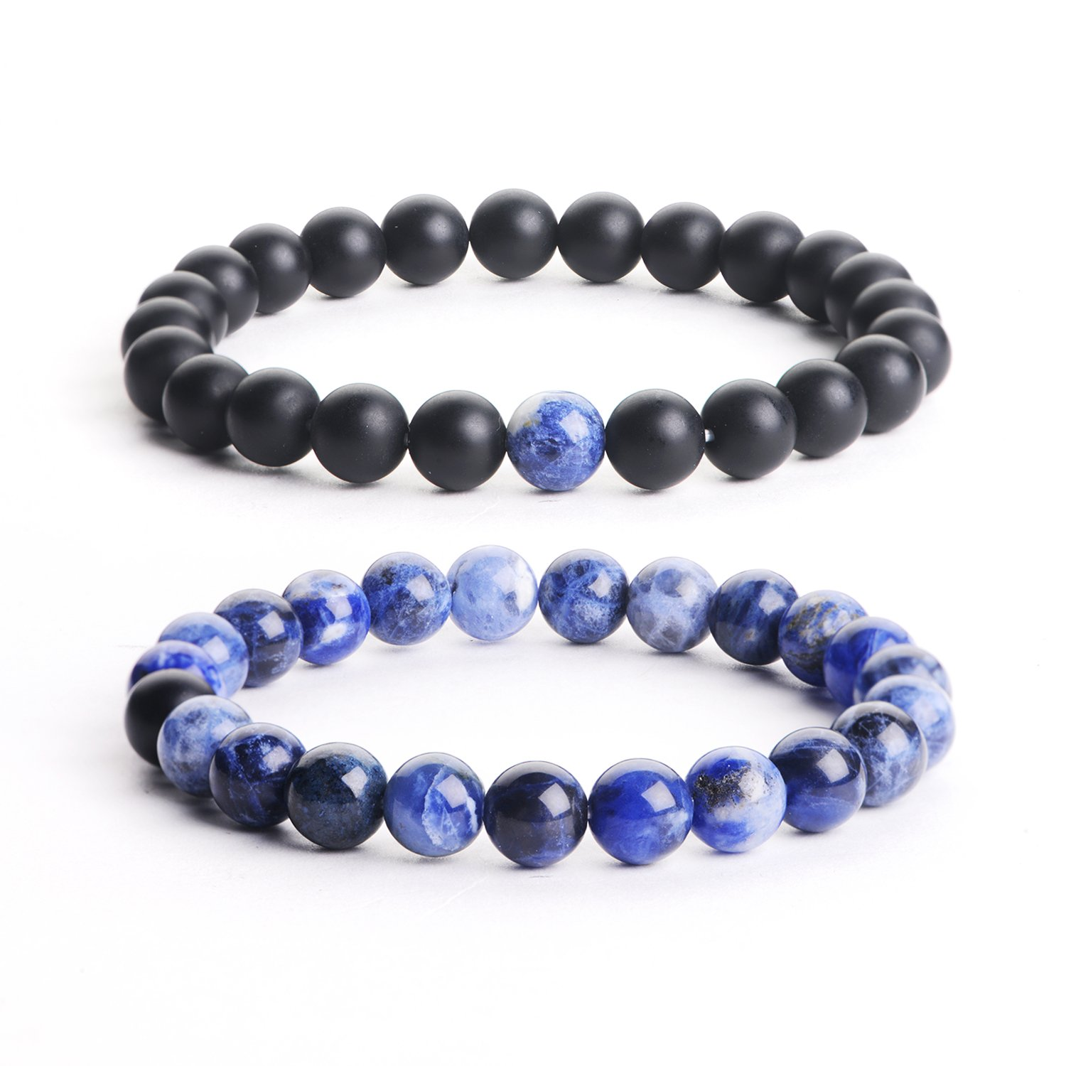 iSTONE Jewelry Natural Gemstone 8MM Couple Distance Round Beads Chakra Balancing Stretch Bracelet (Blue Agate+Matt Agate) by iSTONE Jewelry