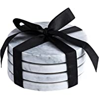 Marble Coaster Set with Cork Back Natural Stoneware Pack of 4 Gray