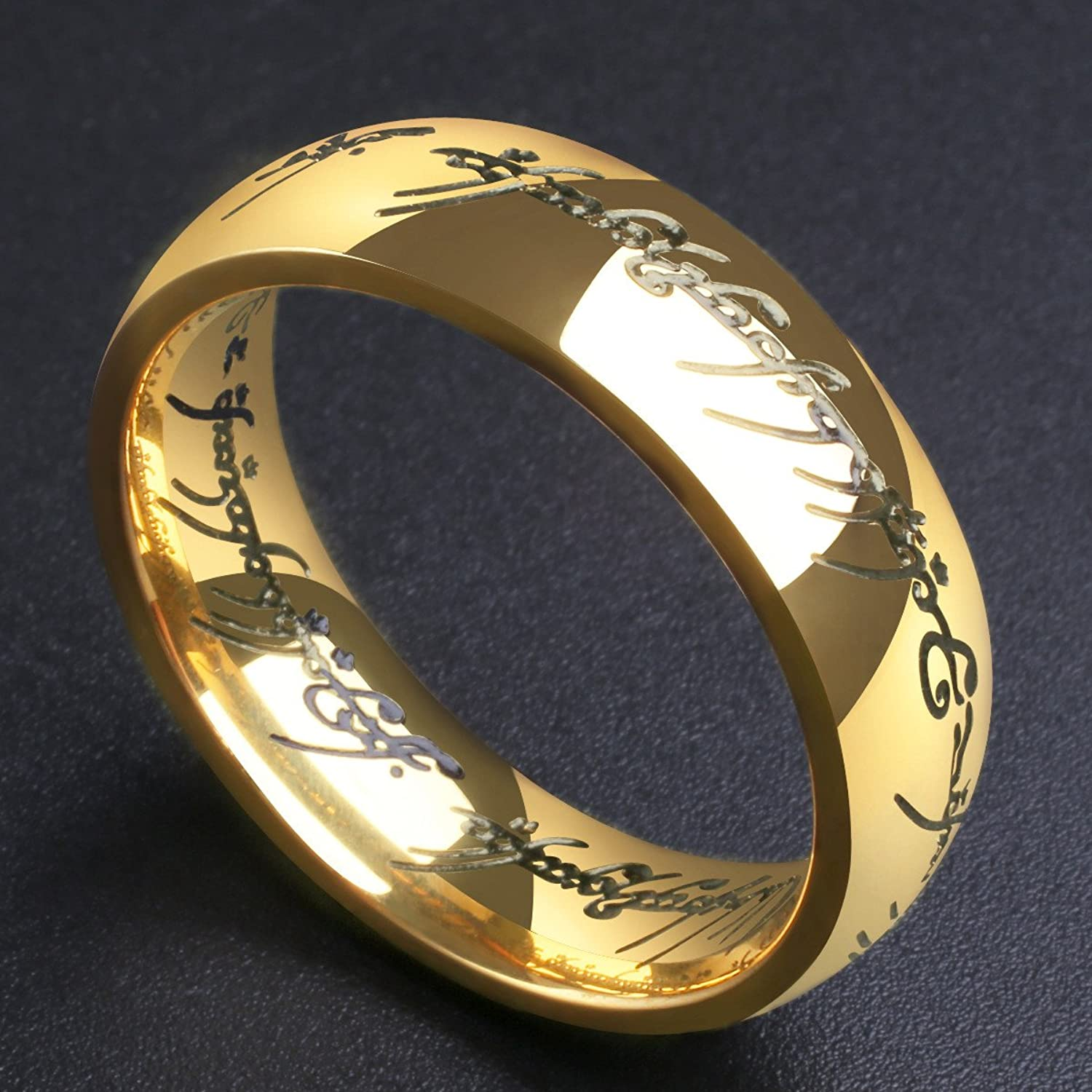 King Will MAGIC 7mm Titanium Ring Gold Plated Lord of Ring fort