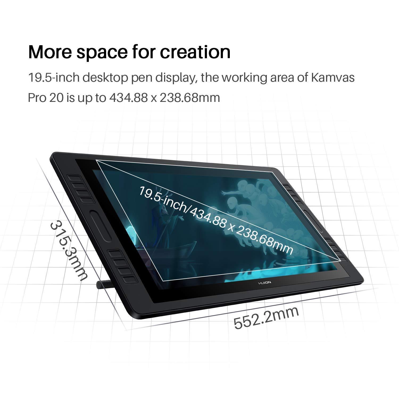 2019 Versi/ón 19.5 Pulgadas AG Glass HD Full Laminated Pantalla HUION Kamvas Pro 20 2019 Tableta gr/áfica con Pantalla 8192 Niveles Pluma sin Bater/ía 16 Teclas de Acceso Directo y 2 Barras T/áctiles