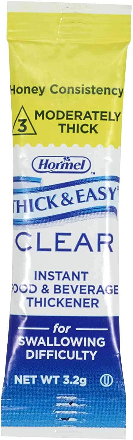 Hormel Health Labs Thick & Easy Clear Instant Food and Beverage Thickener, Honey Consistency Portion Sticks, 2.2 Gram (Pack of 100)