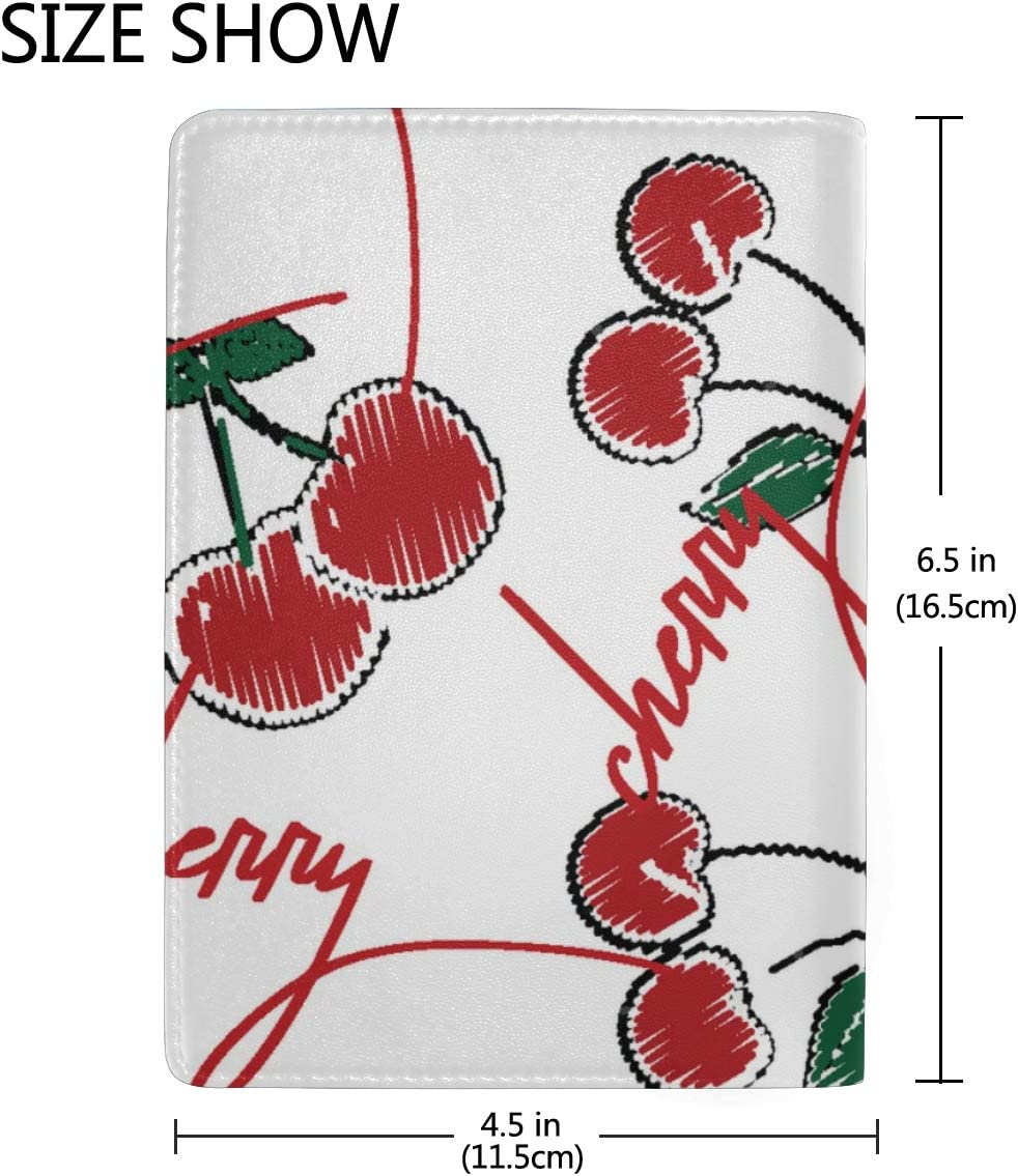 Cherry Art Red Green Sweet Blocking Print Passport Holder Cover Case Travel Luggage Passport Wallet Card Holder Made With Leather For Men Women Kids Family