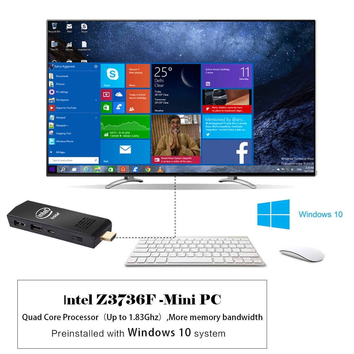 W5 Mini PC Windows 10 Computer Stick Intel Z3736F Quad Core up to 1.83GHz,2GB RAM 32GB ROM,H.265 with Built in Wifi,Bluetooth 4.0 by NEXBOX (Image #3)