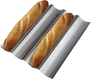 Tobepico Perforated Baguette Pan,Nonstick French Bread Baking Pan 4 Gutter Oven Toaster 4 slots Loaves Loaf Bake Mold Toast Cooking Bakers Molding Waves Silver Steel Tray
