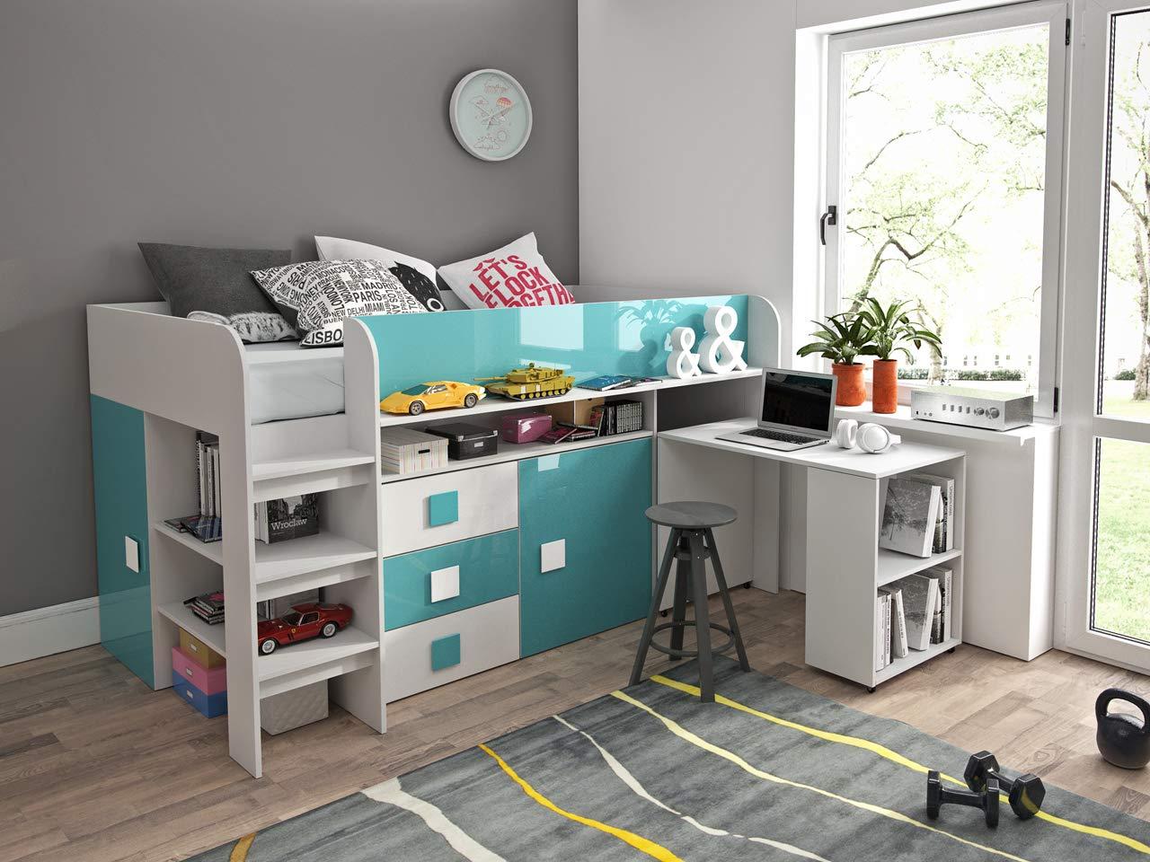 Etagenbett für Kinder TOLEDO 1 Stockbett mit Treppe und Bettkasten KRYSPOL (Weißszlig; + Türkisglanz) Weiß + Türkisglanz