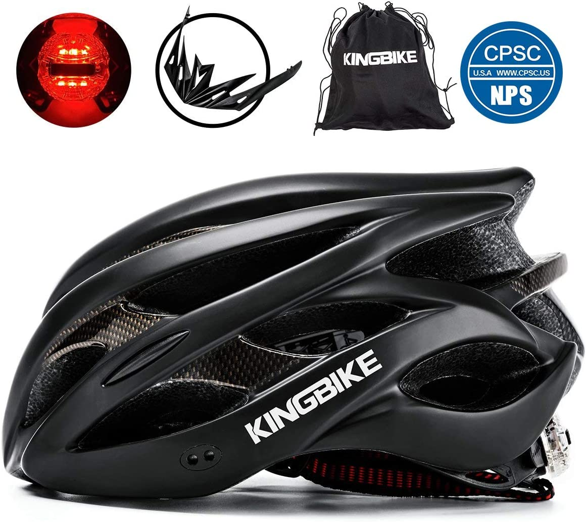 KINGBIKE Ultralight Bike Helmets CPSC CE Certified with Rear Light Portable Simple Backpack Detachable Visor for Men Women M L,L XL