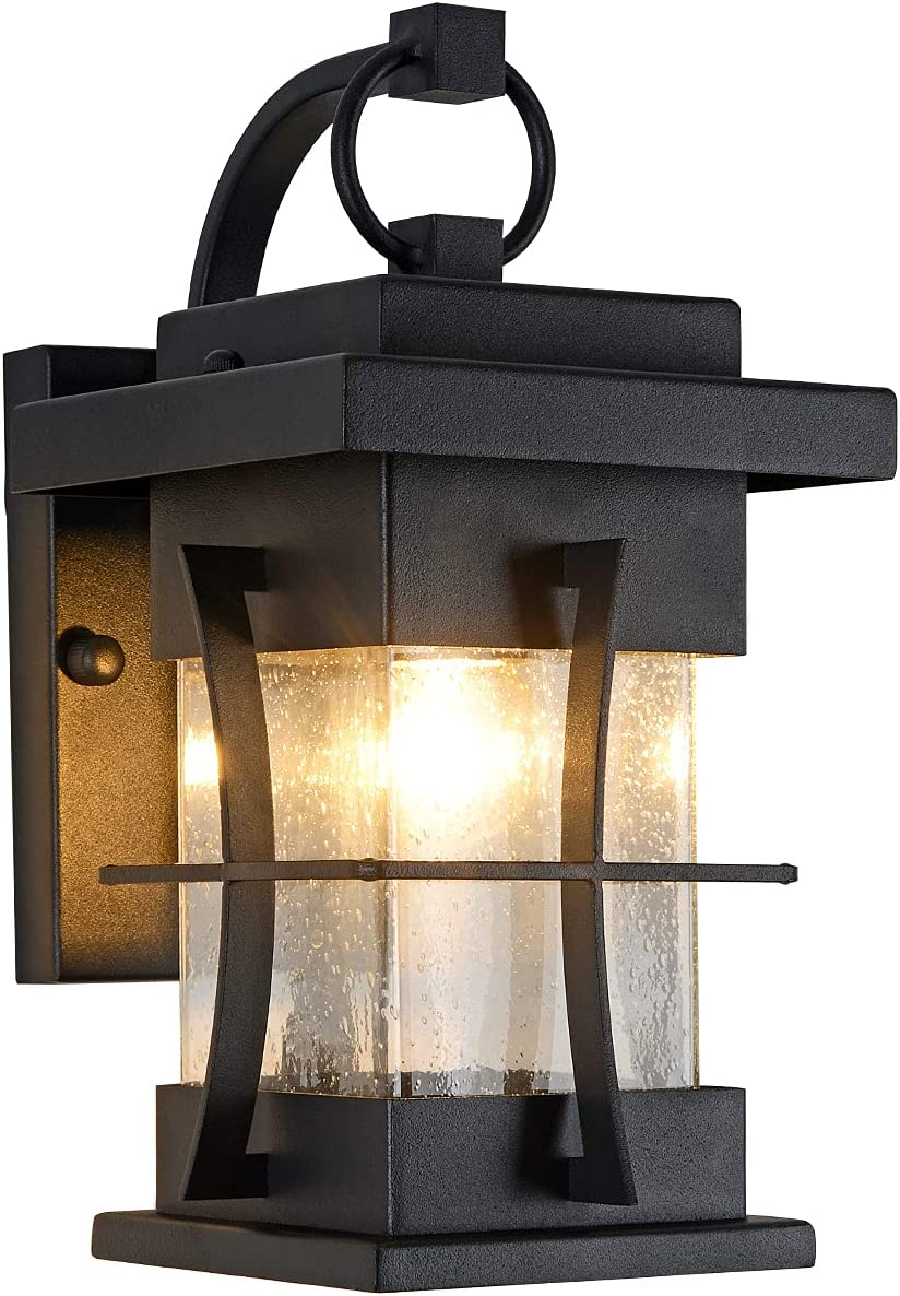 Outdoor Wall Lanterns Small IP65 Waterproof Outdoor Wall Sconce Black Metal with Clear Seeded Glass Exterior Light fixtures Outside Wall Mount for Garage Driveway Patio Porch Lighting, Black