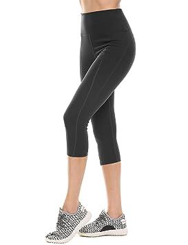55e78e144a Ekouaer Women's Yoga Capris High Waist Tummy Control Pants w Pocket Leggings