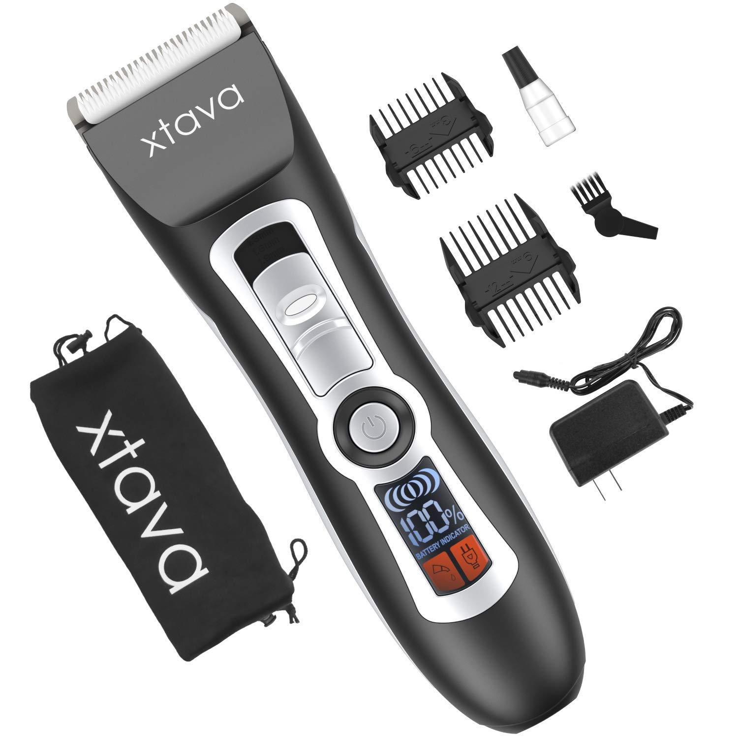 xtava Pro Cordless Hair Clippers and Beard Trimmer - 4.5 Hour Long Life Battery, LCD Display, Titanium and Ceramic Blades - Includes Length Guide Combs, Storage Bag, and Charging Adapter