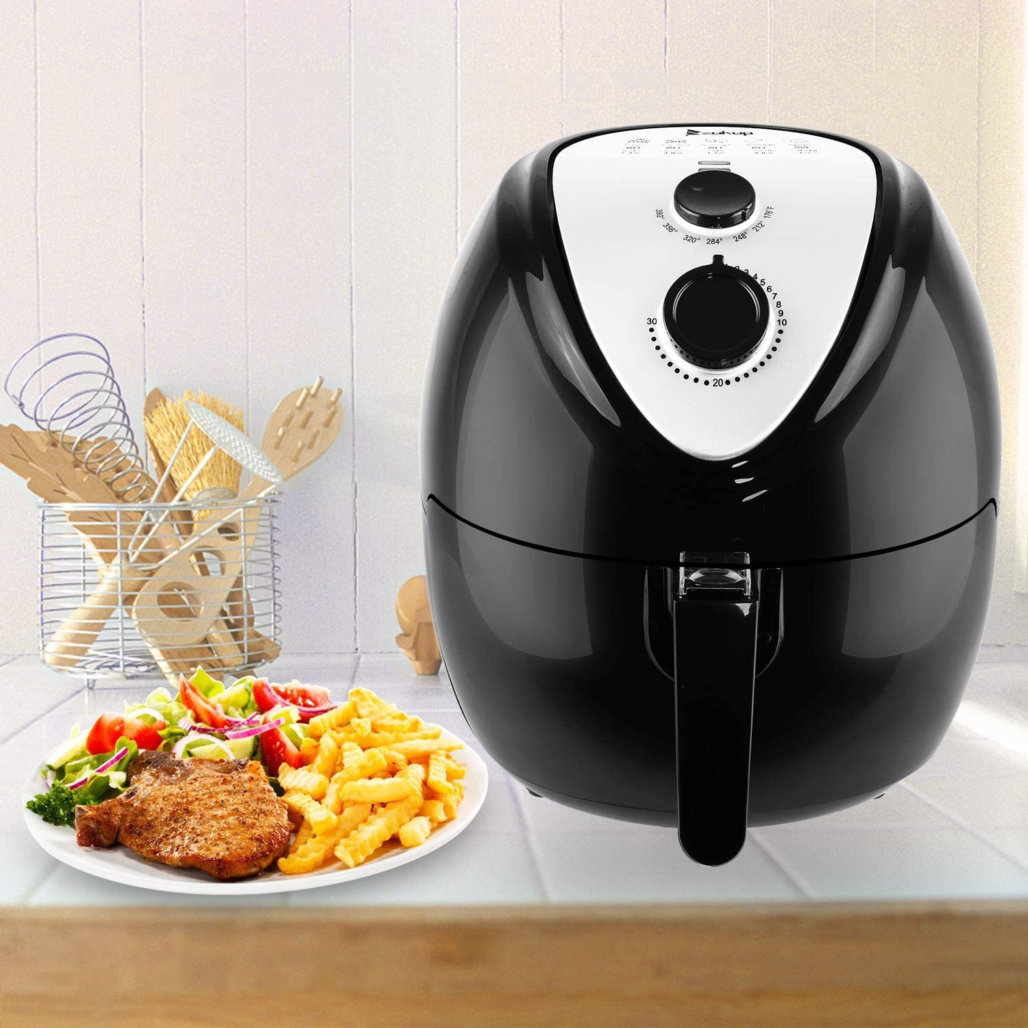 ZOKOP Electric Air Fryer, 120V 5.6Quart 1800W Air Oven Non-Stick, Fast Healthy Food Oil-Less Cooker Low Fat Easy Cleaning, Air Deep Fryer Cooker with Metal Holder Shelf Food Clip, US Plug Black
