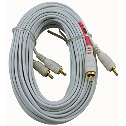 White 50ft 2-RCA Male to Male Gold Stereo Receiver Audio Cable Cord