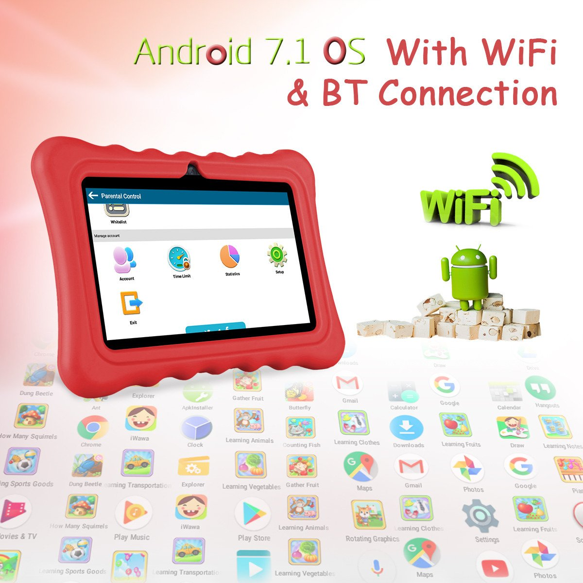 Ainol Q88 Android 7.1 RK3126C Quad Core 1GB+16GB 0.3MP+0.3MP Cam WIFI 2800Ah Tablet PC--Red by Ainol Q88 (Image #4)