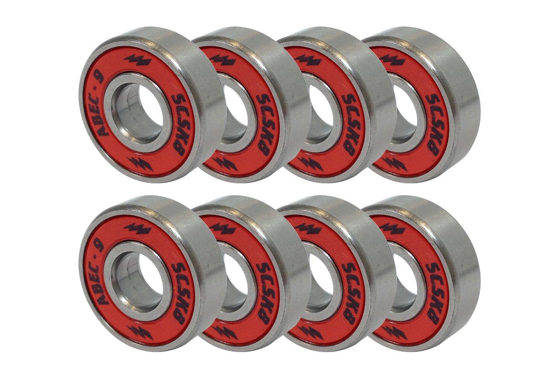 SCSK8 ABEC 9 Bearings Skateboard Longboard Spinner Red Silver 1 set of (8)