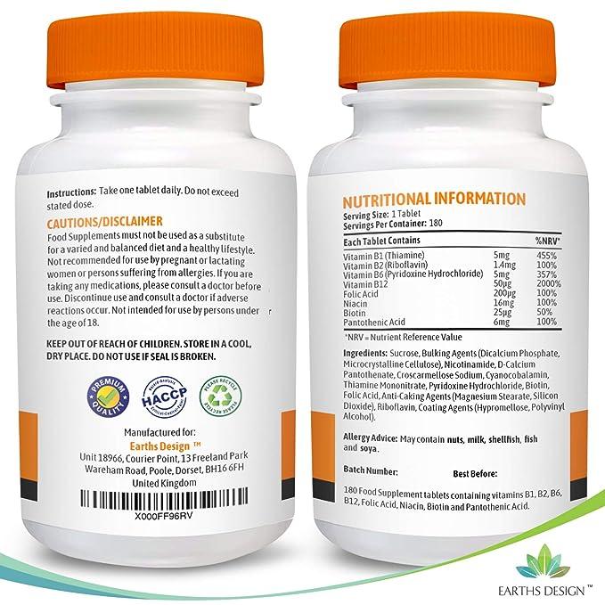 Vitaminas Complejo B - Vit B1 B2 B3 B5 B6 B12 - Con Biotina y Ácido Fólico - Para Hombres y Mujeres - Apto Vegetarianos - 180 Pastillas (Suministro ...