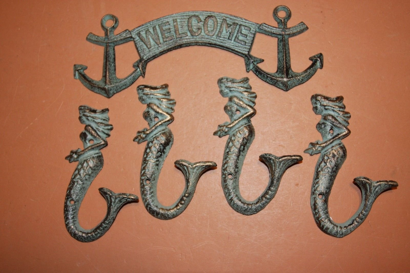 Southern Metal Beach House Warming Gift Set Antiqued-look Cast Iron Maritime Welcome Plaque Mermaid Wall Hooks Bundle of 5 pieces