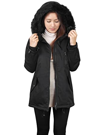 f2a9e90c4ec KOGMO Womens Thick Anorak Down Jacket Parka With Faux Fur Hoodie -S-Black