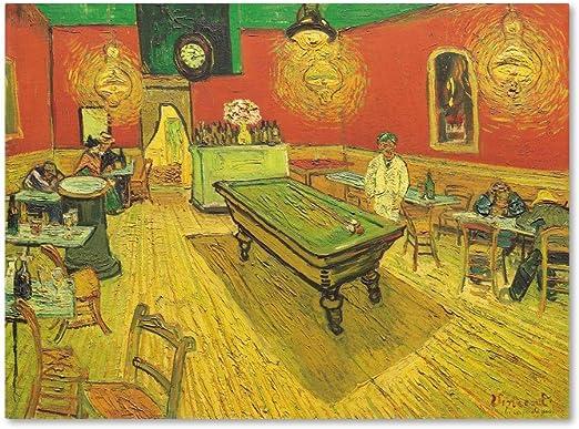 Trademark Marca Fine Art Noche CAF con Mesa de Billar decoración de la Pared, 14x19: Amazon.es: Hogar