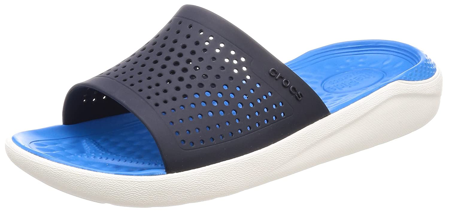Crocs Unisex LiteRide Slide B074F8D39K 4 US Men/ 6 US Women M US|Navy/White