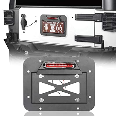 Hooke Road Wrangler Spare Tire Delete License Plate Relocation Kit w/Plate Illuminate Light & Third Brake Light for 2007-2020 Jeep Wrangler JK & Unlimited: Automotive